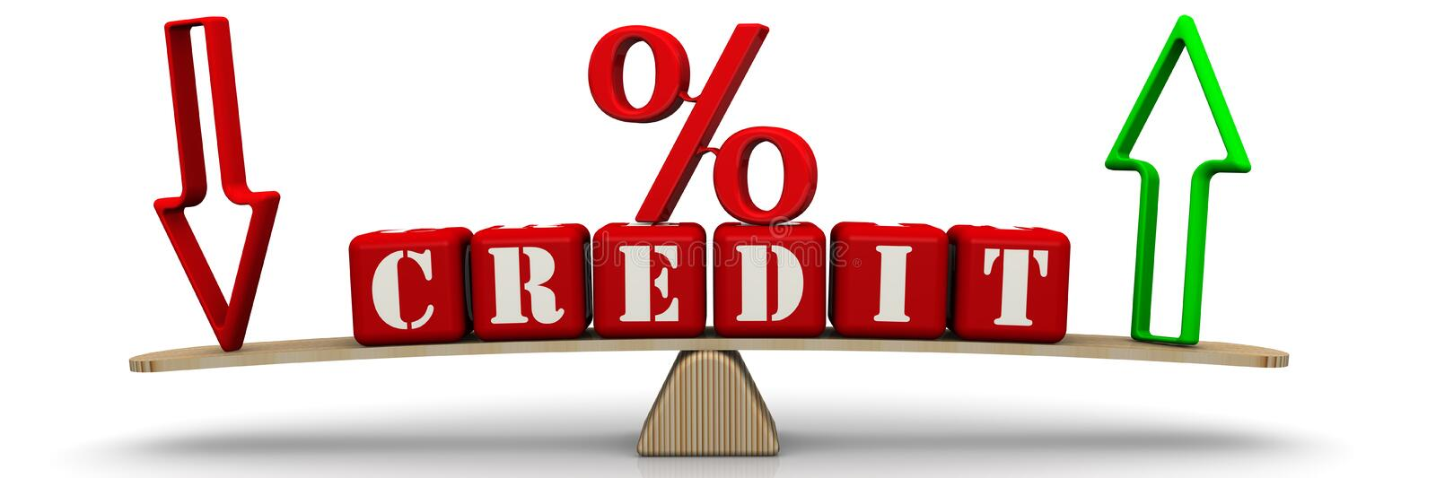 Change in credit percentage. Red percentage sign, downwards and upwards arrows and word CREDIT made from red cubes labeled with letters are weighed on the scales stock illustration