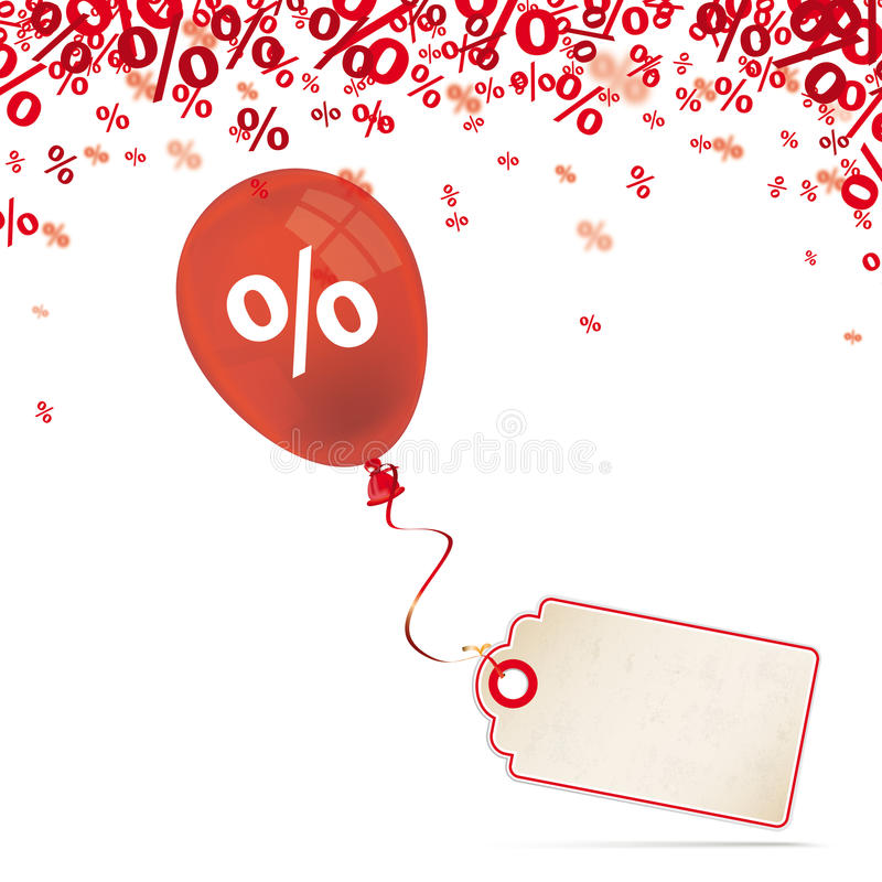 Red Percents Balloon Price Sticker. Red percents confetti with price sticker and red balloon on the white royalty free illustration