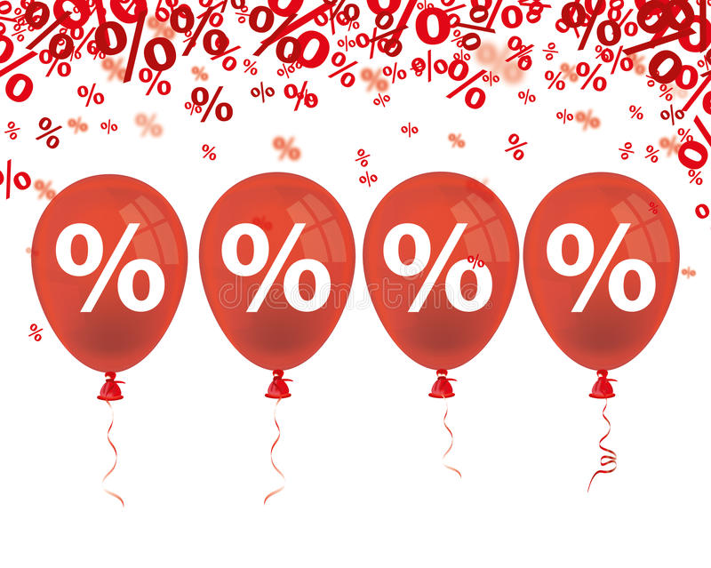 Red Percents 4 Red Balloons. Red percents confetti with 4 red balloon on the white stock illustration