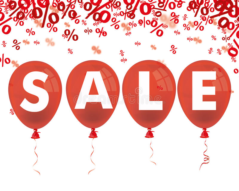 Red Percents 4 Red Balloons Sale. Red percents confetti with 4 red balloon on the white stock illustration