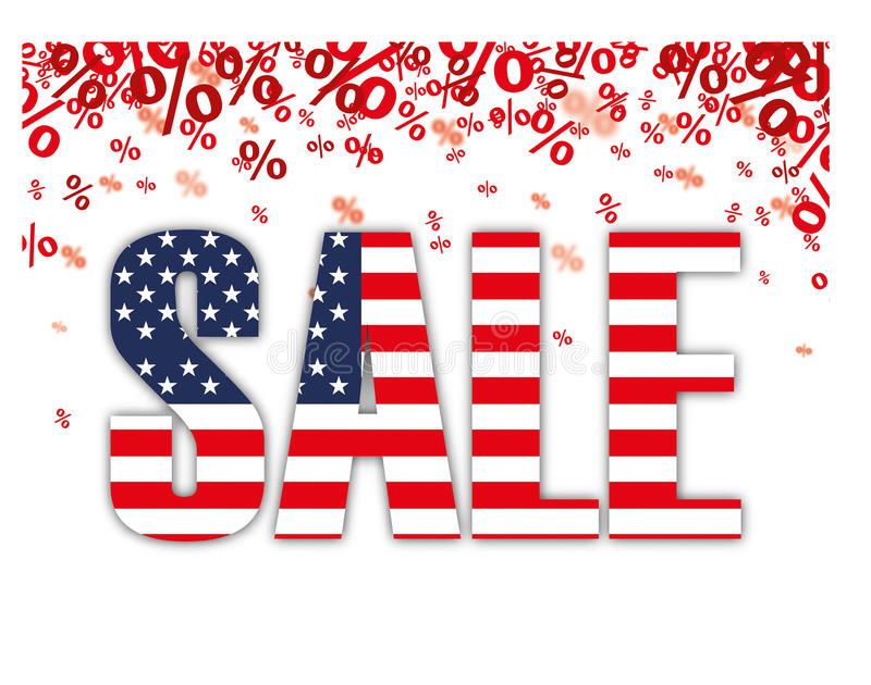 Red Percents USA Sale. Red percents confetti with text Sale on the white royalty free illustration