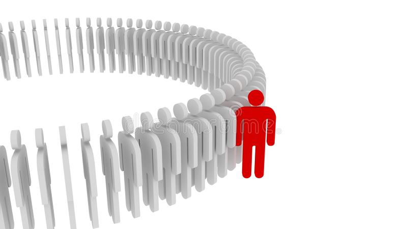 Red person standing out from the crowd. Human concept, 3d. Illustration stock illustration