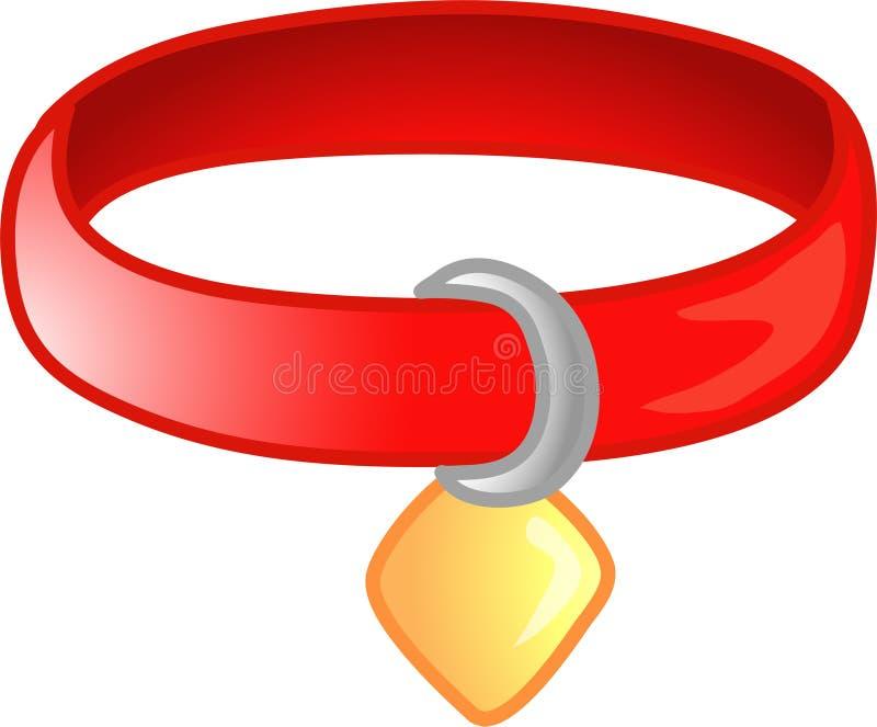 Red pet collar icon or symbol