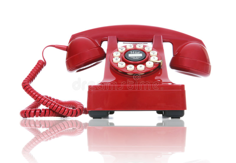 Red Phone. A red hot-line phone over a white background