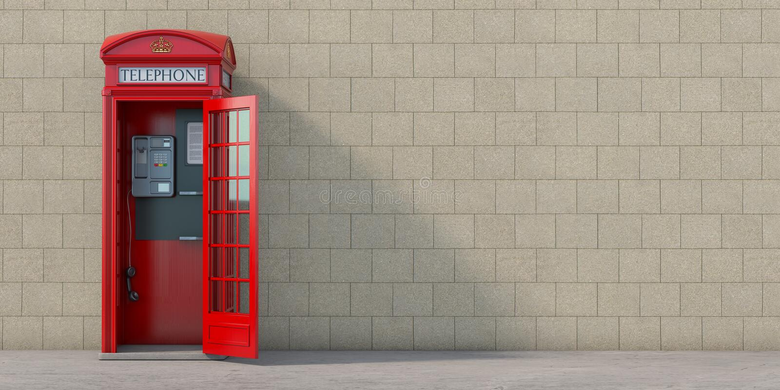 Red phone booth with hanging receiver on wall background. London, british and english symbol. Anonymous call concept stock illustration