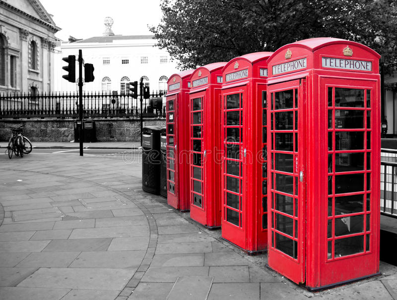 Red phone booth. In London stock images