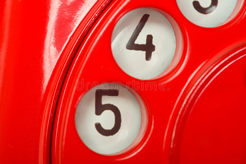 Red phone closeup. Closeup of digits, red phone royalty free stock photos