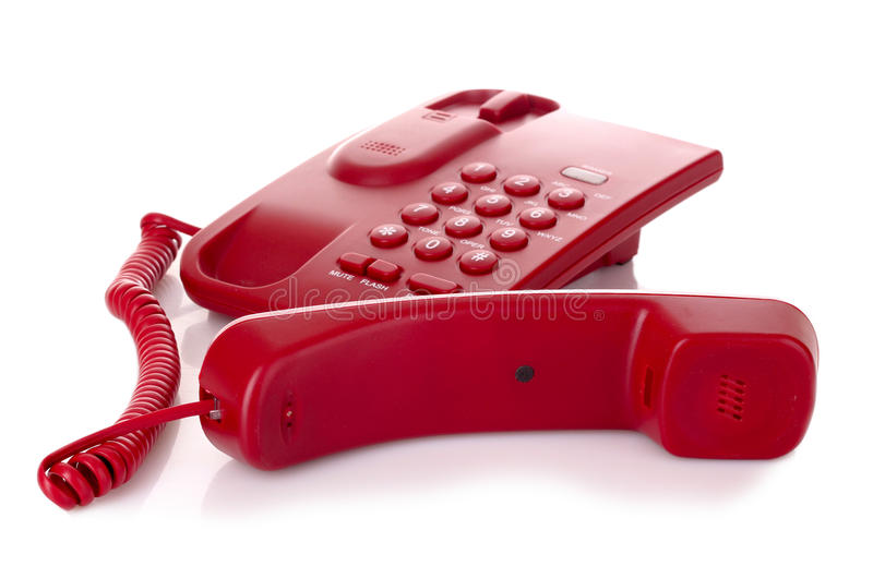 Red phone isolated stock images