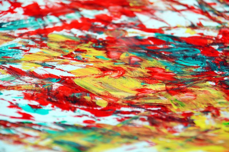 Blue orange red phosphorescent vivid spot paint background, watercolor acrylic painting abstract background stock image