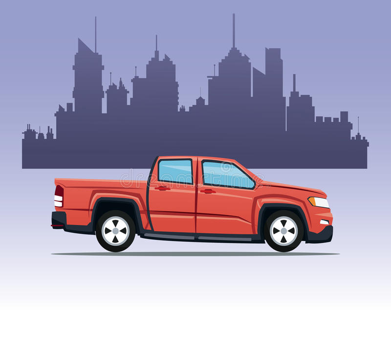 Red pick up double cab city background. Vector illustration eps 10 vector illustration