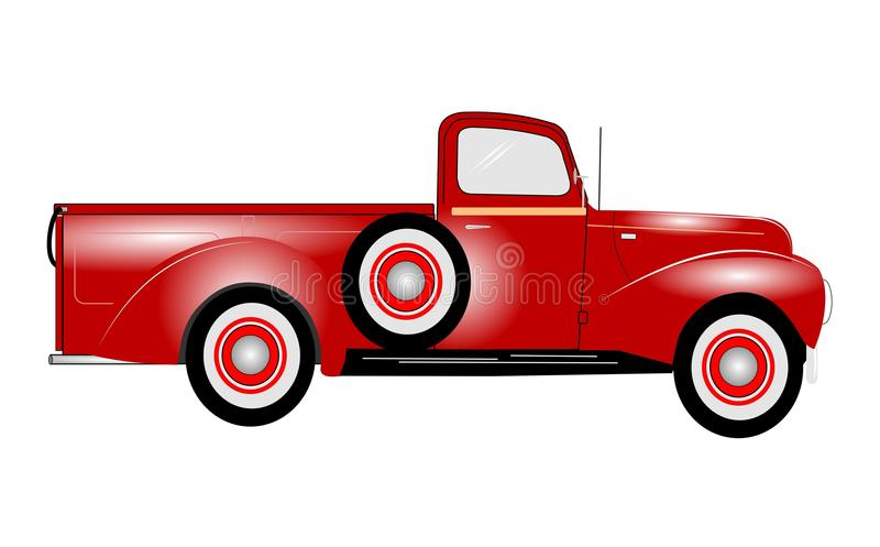 1941 red pickup truck vector illustration