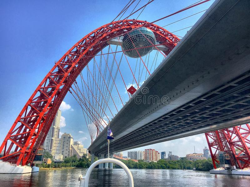 Red Picturesque bridge in Moscow stock photo