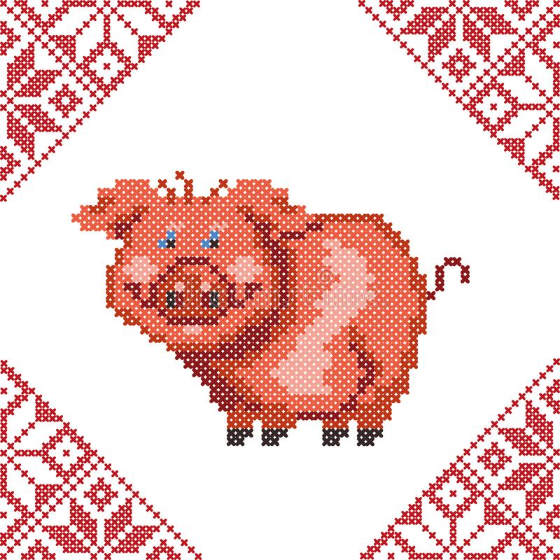 Red pig made from cross-stitch embroidery. Symbol of the year 2019 pig. stock image