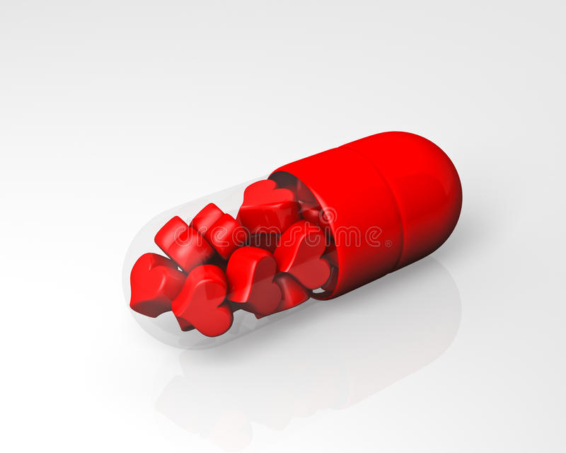 Red pill filled with hearts stock illustration