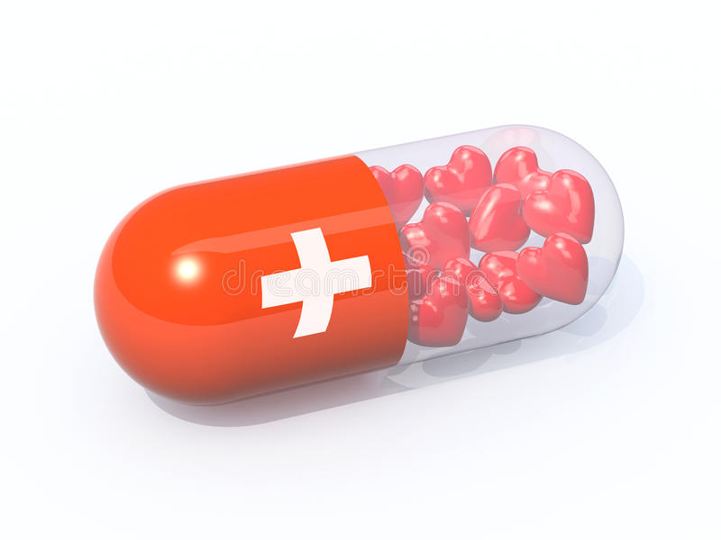Red pill filled with hearts royalty free illustration