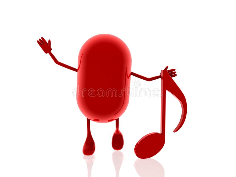 Red Pill With Music Note Stock Images