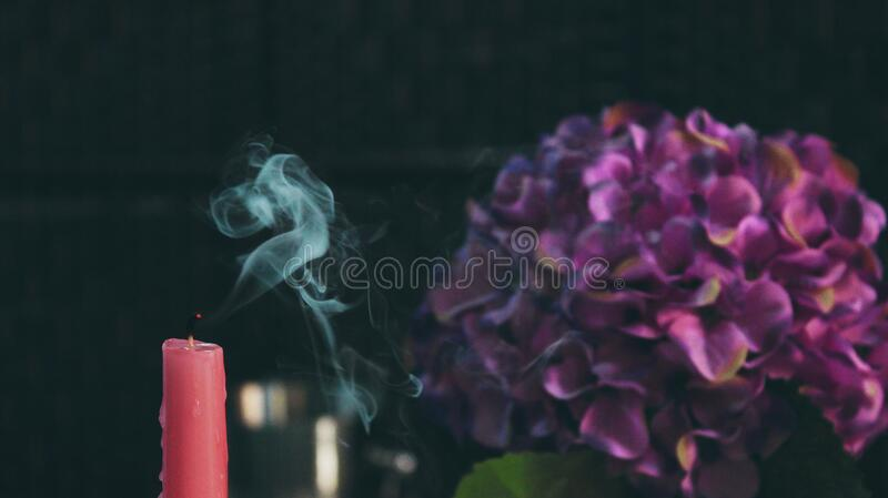 Download Red Pillar Candle Beside Purple Flower Stock Image - Image of decoration, beautiful: 82950115