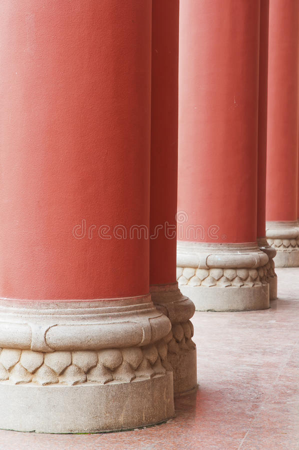 Red Pillars. The photo is red Pillars, close up royalty free stock photo