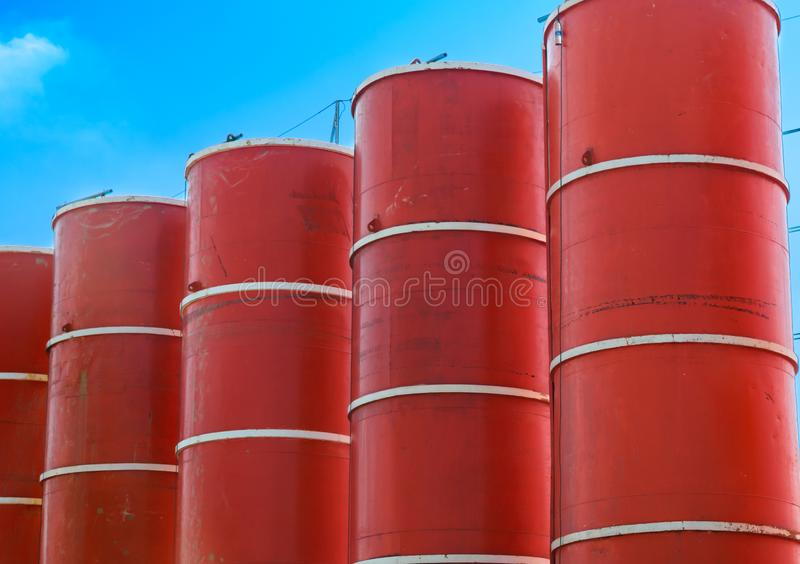 Red pillars at construction site. Photo of red pillars at construction site stock photos