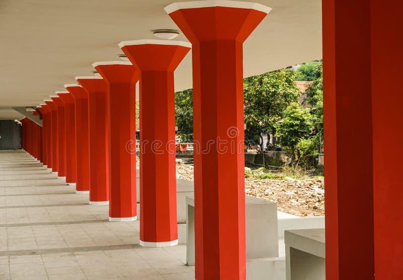 Red pillars in a row photo taken in Semarang Indonesia. Java stock photos