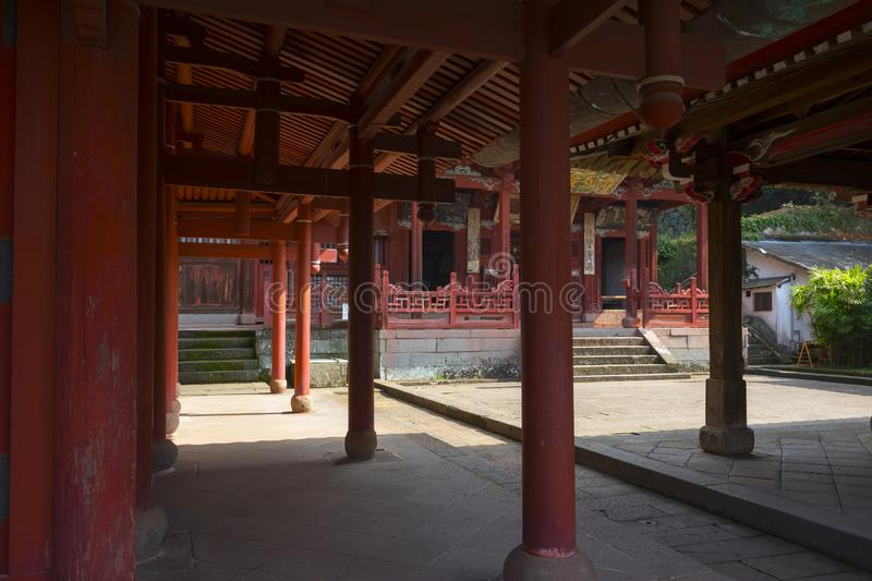 Red pillars of Sofukuji Temple Gate, a Chinese temple that is one of the best examples of royalty free stock photography