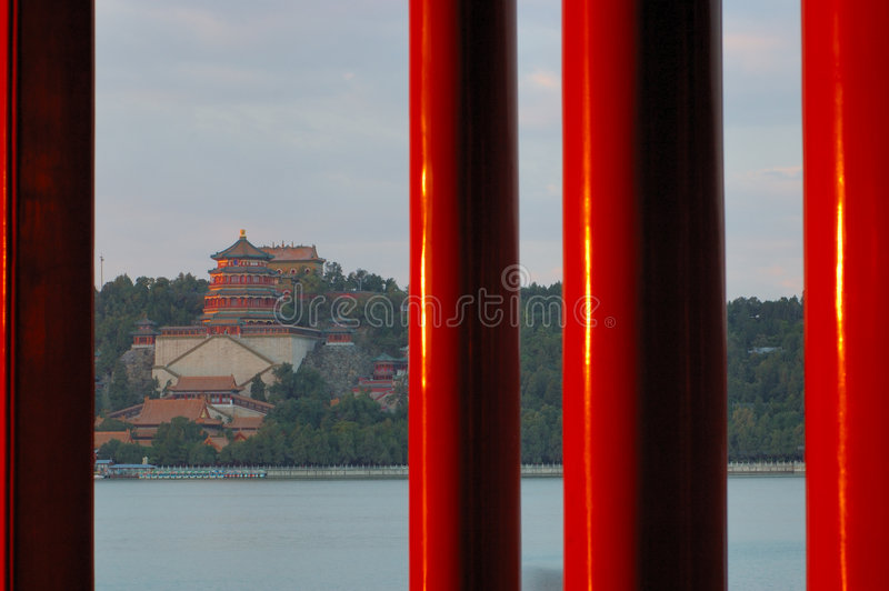 Red Pillars In Summer Palace Royalty Free Stock Photo