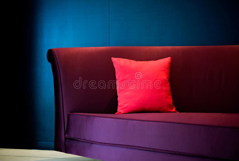 Download Red pillow on a sofa stock photo. Image of design, ideas - 14408214