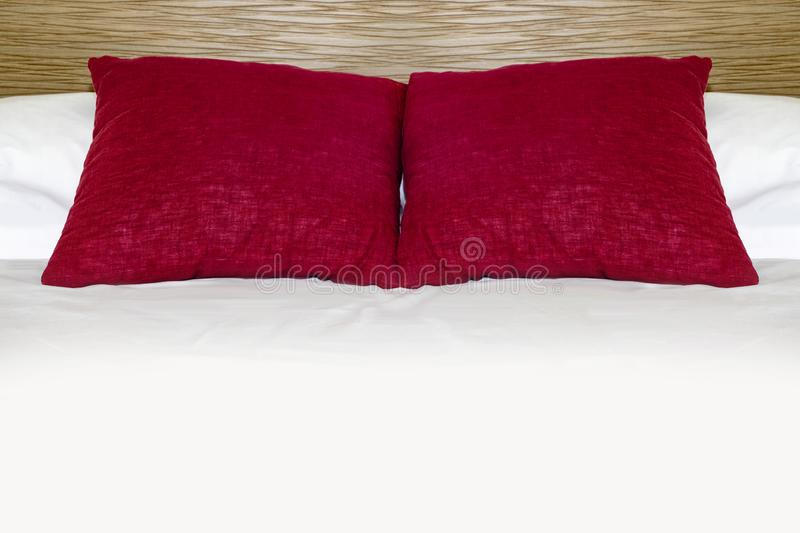 Red Pillows On Bed For Valentine Day stock images