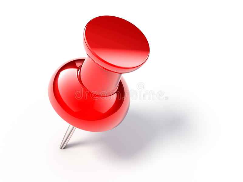 Red pin. On white background - 3d render