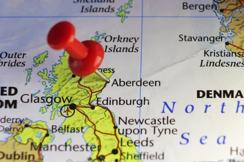 Red pin on Aberdeen, Scotland, UK vector illustration
