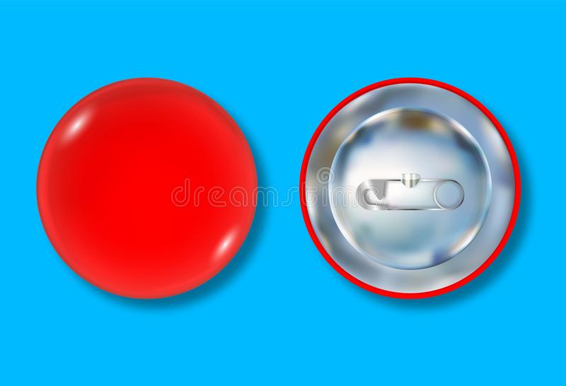 Red pin button front and back side. Blank badge brooch mockup design. Vector illustration vector illustration