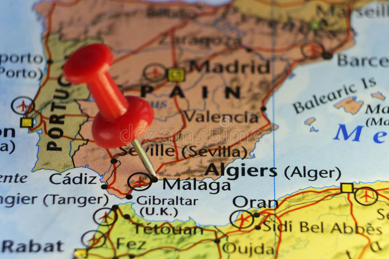 Red pin on Malaga, Spain. Copy space available royalty free illustration