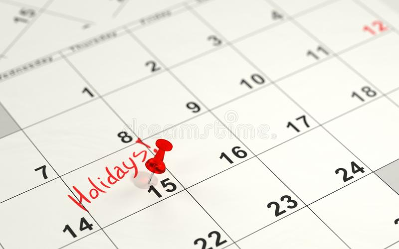 Red pin marking the 15th on a calendar royalty free illustration