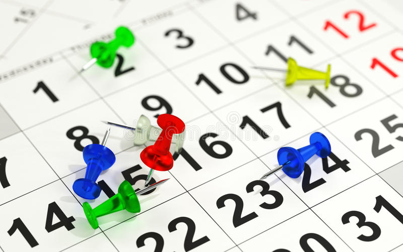 Red pin marking the 15th on a calendar stock illustration