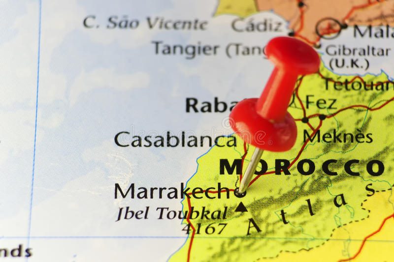Red pin on Marrakech, Morocco. Copy space available stock images