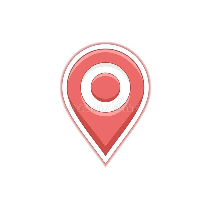 Red pin symbol for map or geo services. Map location icon. Vector address and contact web page. Red pin symbol for map or geo services. Map location pin icon stock illustration