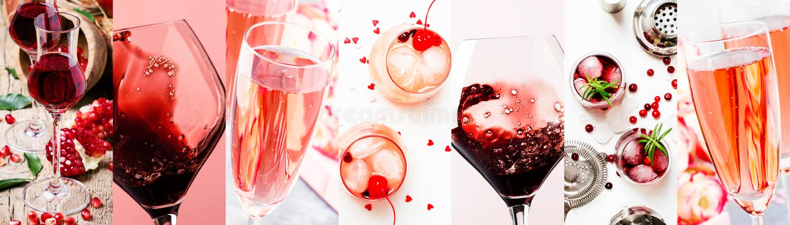 Red and pink alcoholic beverages, wine, champagne and liqueurs, berry and fruit cocktails. Photo collage. Still lilfe stock photography