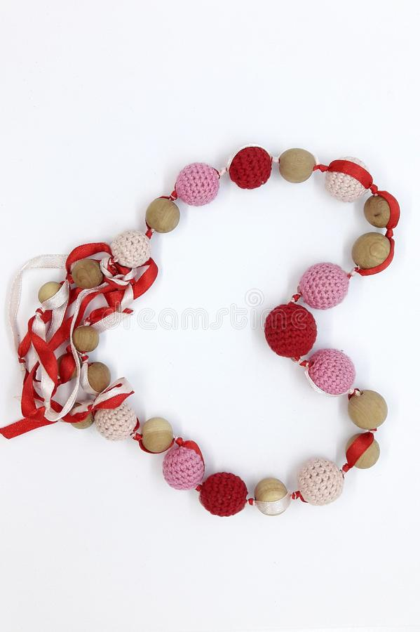 Red and pink beads stock image