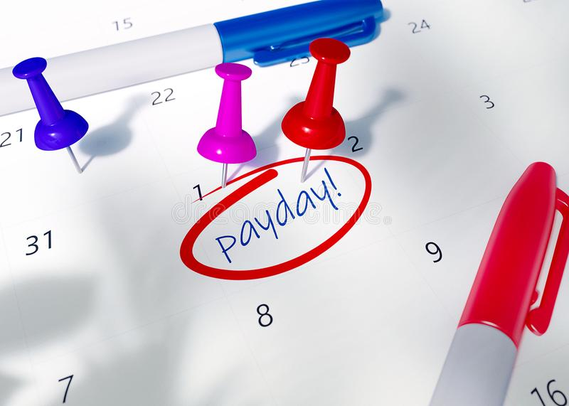 Red, pink and blue pins on calendar with word PAYDAY to remind for important appointment. 3D Render Illustration of Payday Calendar stock illustration
