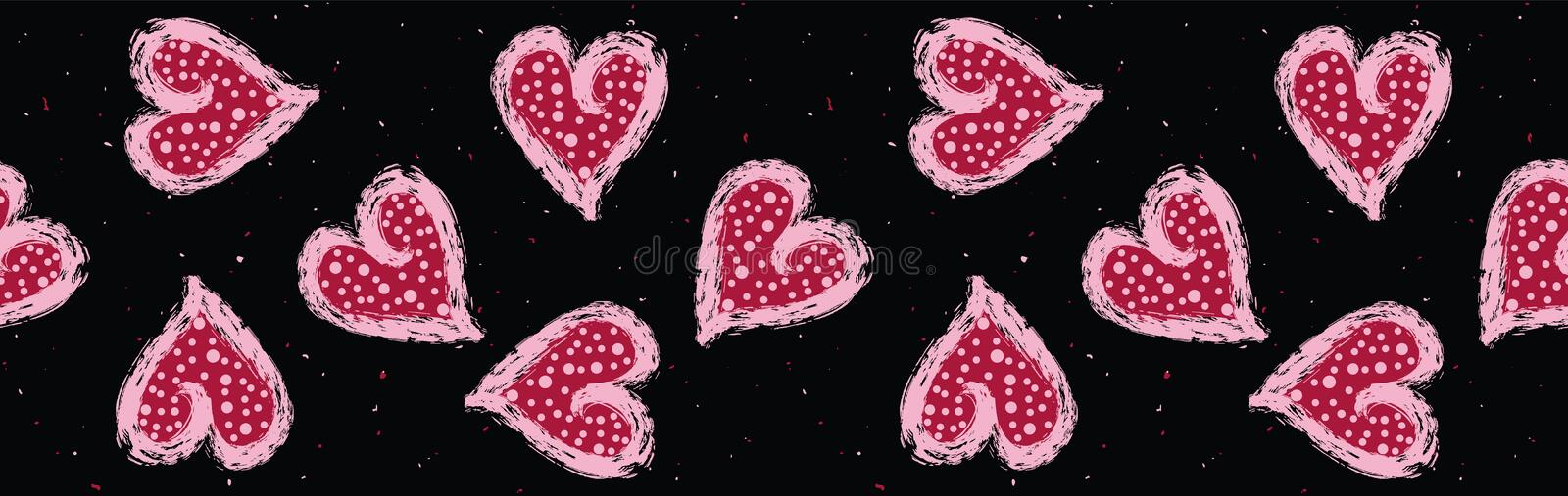 Red pink dotty love hearts with 1950s style polka dots vector illustration
