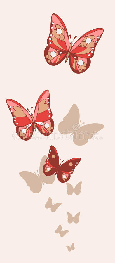 354f38620 Red and pink fishnet butterflies with shadows on the background. Of milky  color. Vector