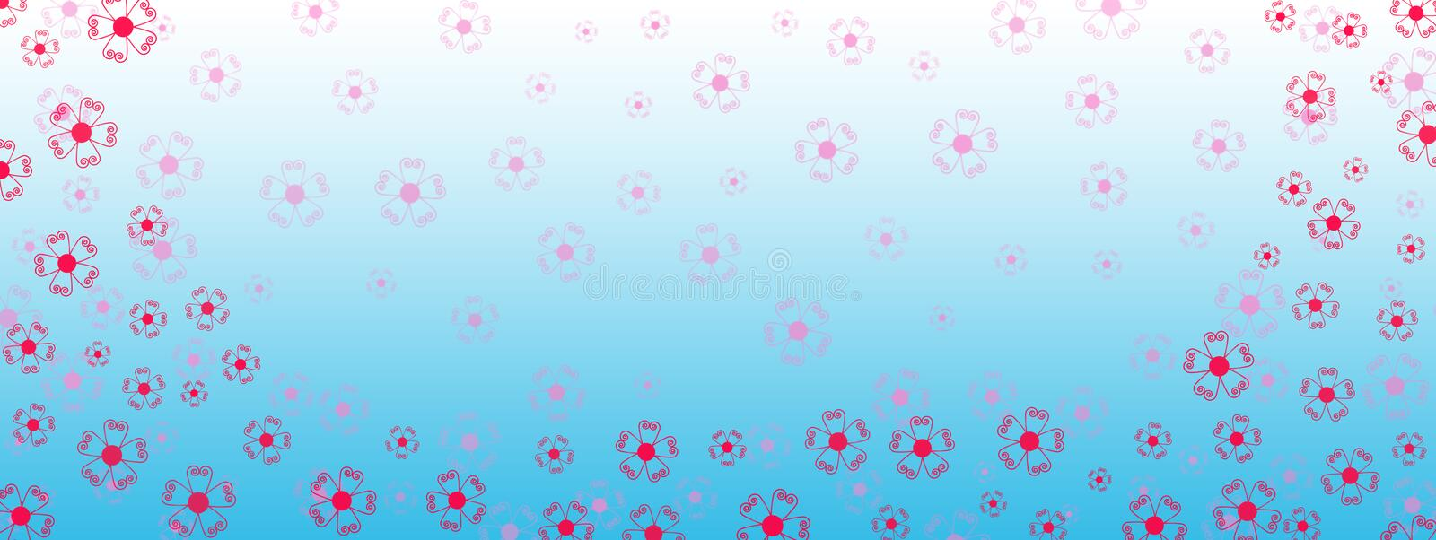 Red and Pink Flowers Border in Gradated Blue Banner Background stock image