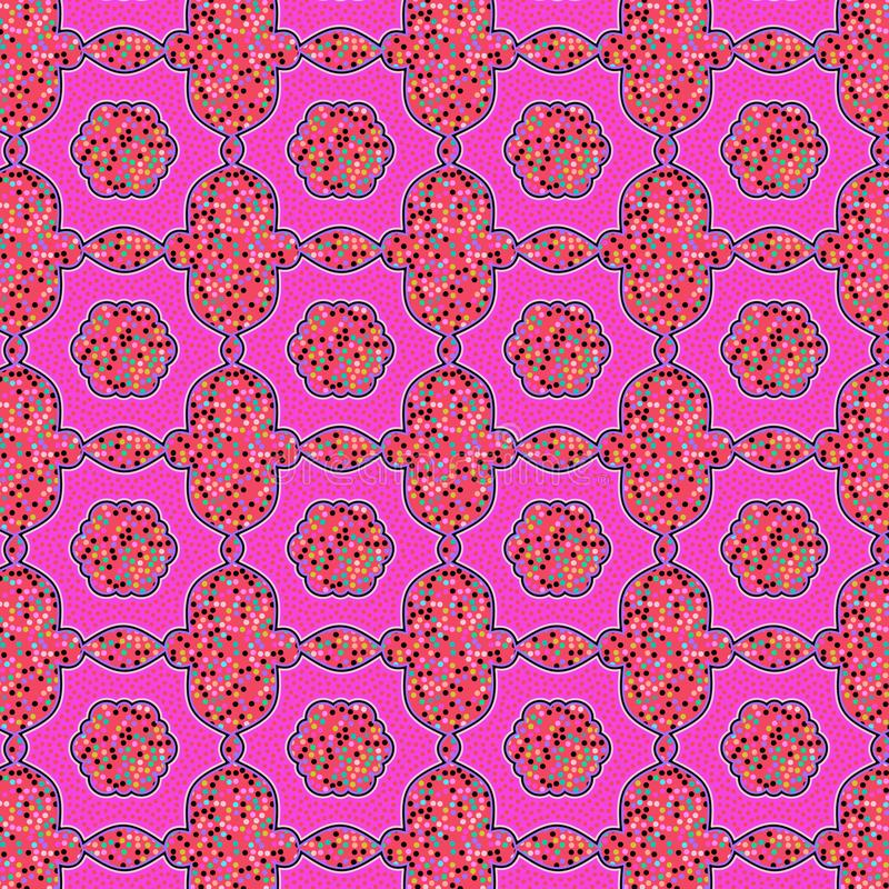 Red and pink glittery stippled ethnic pattern. Red and pink glittery ethnic pattern with unique texture for textile, fabric, wallpaper, backdrops, and elegant vector illustration