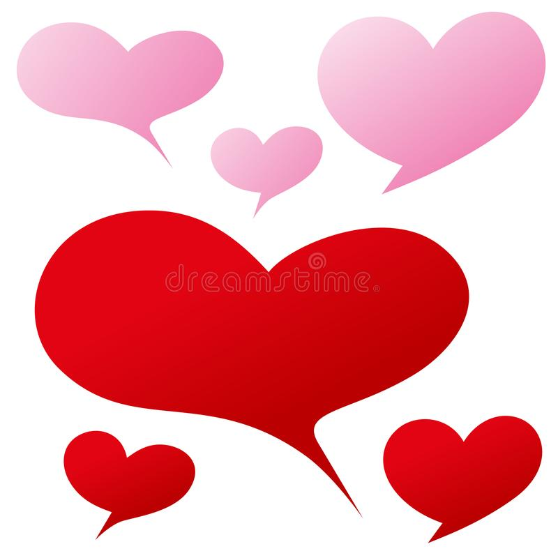 Red pink heart shape bubble for written word or expression stock illustration