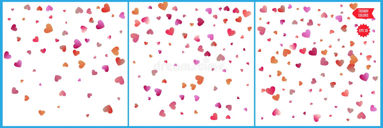 Red and pink hearts confetti celebrations. Simple festive modern design. Holiday vector. Set 3 in 1.  vector illustration