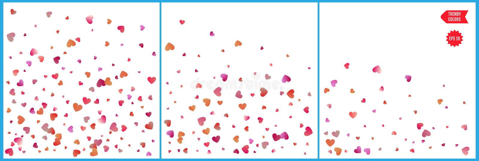 Red and pink hearts confetti celebrations. Simple festive modern design. Holiday vector. Set 3 in 1.  stock illustration