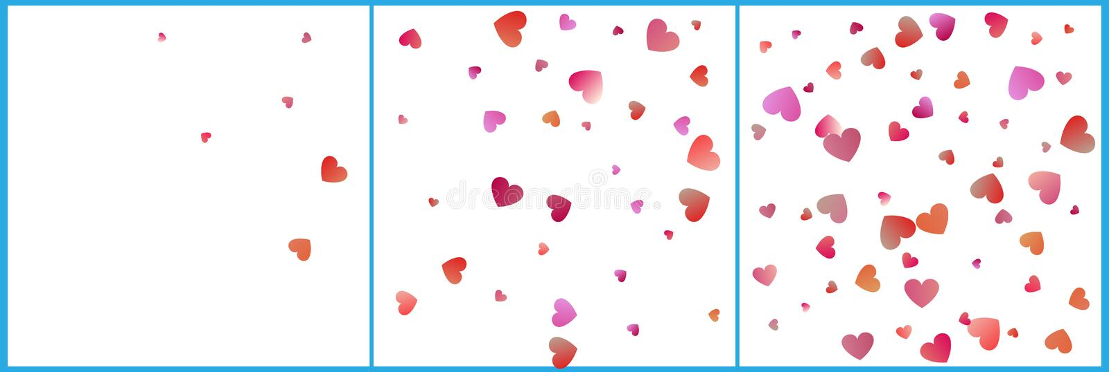 Red and pink hearts confetti celebrations. Simple festive modern design. Holiday vector set.  royalty free illustration