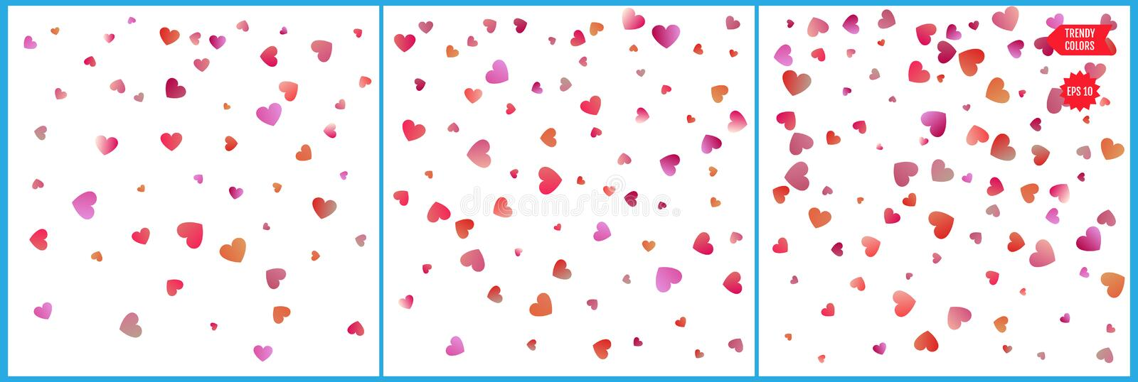Red and pink hearts confetti celebrations. Simple festive modern design. Holiday vector. Set 3 in 1.  royalty free illustration