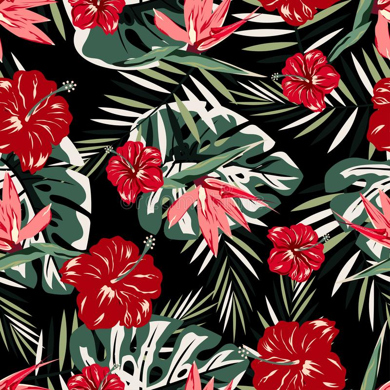 Pattern with red and pink flowers vector illustration