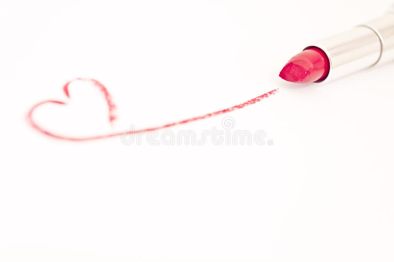 Red Pink Lipstick With Heart Mark Royalty Free Stock Image